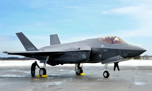 Một chiếc F-35A tại căn cứ không quân Misawa, Nhật Bản, hồi tháng 1/2018. Ảnh: Kyodo.