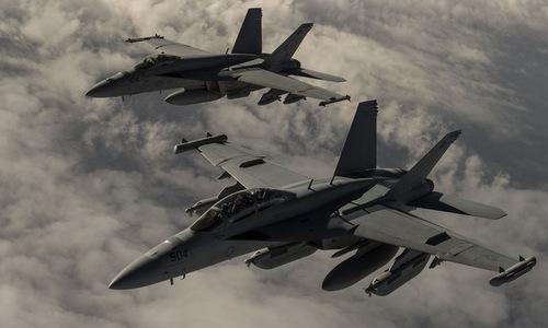 Tiêm kích Mỹ hoạt động gần biên giới phía đông Syria hồi năm 2016. Ảnh: USAF.