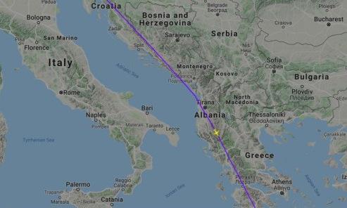 Lộ trình của máy bay TUIFly hôm 9/4. Ảnh: FR24.
