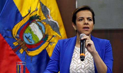 Bộ trưởng Nội vụ Ecuador Maria Paula Romo phát biểu trong buổi họp báo tại thủ đô Quito hôm 11/4. Ảnh: AFP.