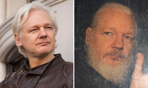 Assange năm 2017 (trái) và khi bị bắt năm 2019. Ảnh: AP.