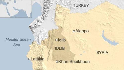 Vị trí tỉnh Idlib của Syria và khu vực Địa Trung Hải. Đồ họa: BBC.