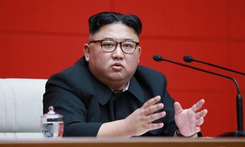 Lãnh đạo Triều Tiên Kim Jong-un tại cuộc họp ở Bình Nhưỡng ngày 10/4. Ảnh: KCNA.