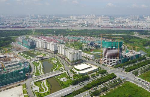 Một góc Khu đô thị mới Thủ Thiêm sau 23 năm quy hoạch. Ảnh: Quỳnh Trần