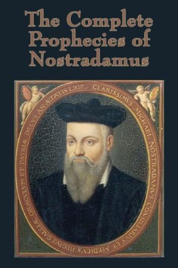 Nhà chiêm tinh Nostradamus trên bìa cuốn sách Những lời tiên tri hoàn chỉnh của Nostradamus xuất bản năm 1999. Ảnh: Amazon.