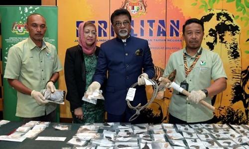 Bộ trưởng Xavier Jayakumar (thứ hai từ phải sang) cùng các quan chức Malaysia cùng số tang vật thu giữ của hai nghi phạm người Việt. Ảnh: Bernama.