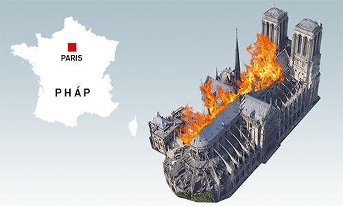 Những cấu trúc bị lửa thiêu rụi tại Nhà thờ Đức Bà Paris (bấm vào hình để xem chi tiết). Đồ họa:Việt Chung.