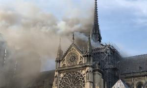 Hình ảnh đầu tiên về vụ cháy nhà thờ Đức Bà Paris