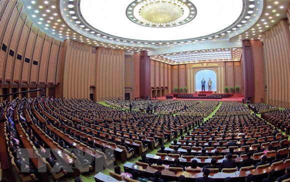 Phiên họp đầu tiên của Hội nghị Nhân dân Tối cao (Quốc hội) Triều Tiên lần thứ 14 tại thủ đô Bình Nhưỡng ngày ngày 11/4. (Ảnh: YONHAP/TTXVN)