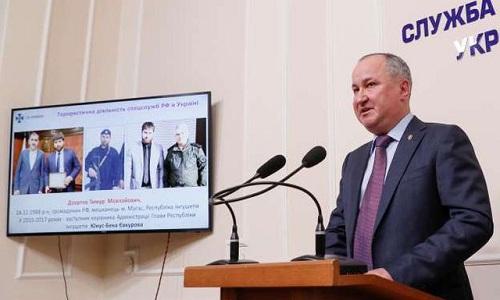 Giám đốc SBU phát biểu tại cuộc họp báo ở Kiev ngày 17/4. Ảnh: Reuters.