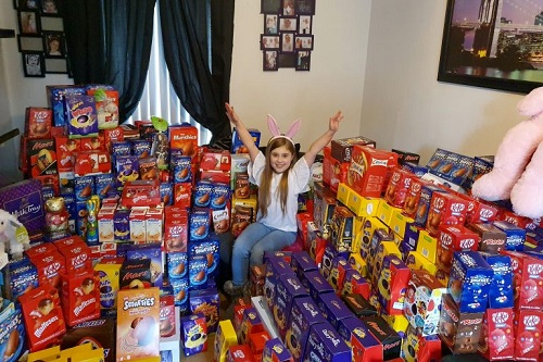 Jasmine và 650 quả trứng Phục sinh em kêu gọi quyên gópnăm nay. Ảnh:Lucy Notarantonio