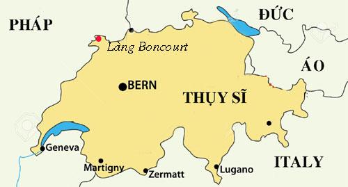 Làng Boncourt nằm gần biên giới Pháp. Đồ họa: The Local.