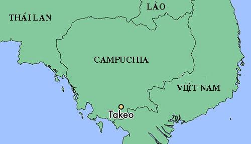 Vị trí tỉnh Takeo của Campuchia. Đồ họa: World Atlas.