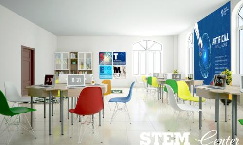 STEM Center với hàng loạt mô hình Lego Mindstorm EV3, mạch Arduino, Makeblock, Airblock, LewanSoul... là nơi học sinh khám phá, sáng tạo và trải nghiệm về trí tuệ nhân tạo (AI),lập trình robot.
