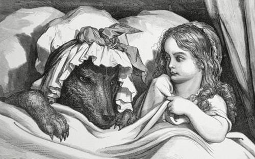 Truyện Cô bé quàng khăn đỏ phiên bản năm 1862 của Gustave Dore bị loại khỏi trường Tàbet, Tây Ban Nha. Ảnh: Alamy