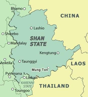 Vị trí bang Shan của Myanmar. Đồ họa: LVFB.