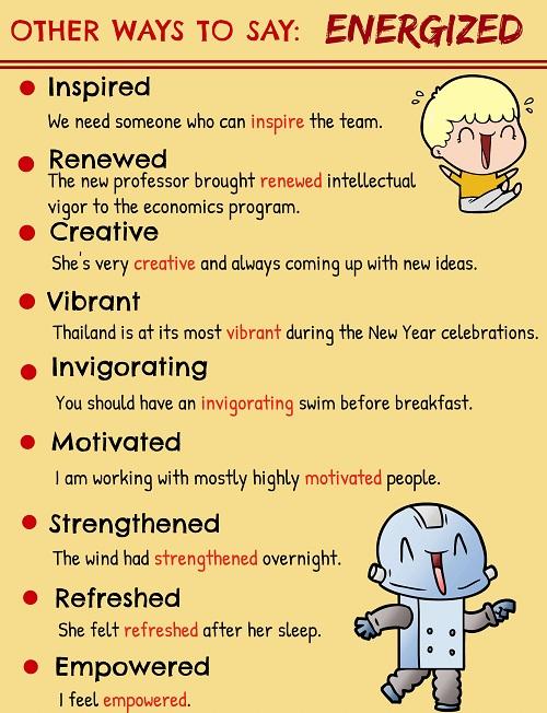 Những cách nói thay thế energized
