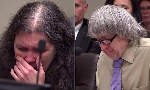 David Allen Turpin, 57 tuổi (phải) và vợ Louise Anna Turpin, 50 tuổi, tại phiên toàn hôm 19/4. Ảnh: AFP.