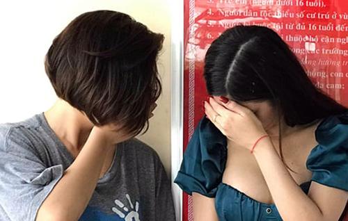 Bốn trong 7 cô gái dương tính với ma túy. Ảnh: Quang Bình.