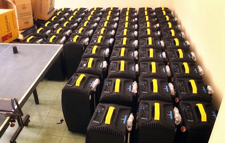 Loa thùng đựng ma tuý bị bắt ở Sài Gòn. Ảnh: Công an cung cấp.