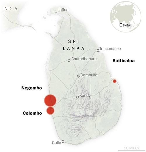 Vị trí xảy ra các vụ đánh bom. Đồ họa: Washington Post.