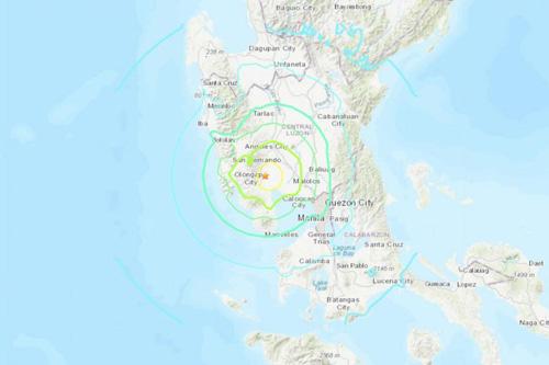 Vị trí xảy ra động đất ở Philippines hôm nay. Ảnh: USGS.