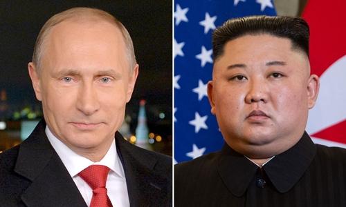 Tổng thống Nga Putin (trái) và lãnh đạo Triều Tiên Kim Jong-un. Ảnh: AFP.