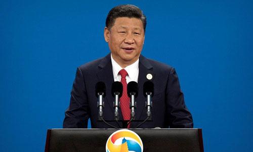 Chủ tịch Trung Quốc phát biểu khai mạc Diễn đàn Vành đai và Con đường ở Bắc Kinh năm 2017. Ảnh: AP.