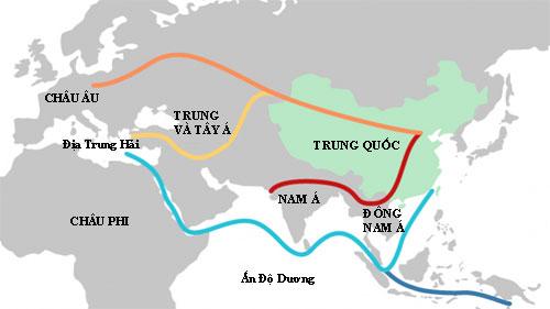 Đồ họa về 5 tuyến đường thuộc Sáng kiến Vành đai và Con đường. Ảnh: Nhóm Quản lý Môi trường LHQ.