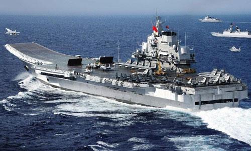 Tàu sân bay Liêu Ninh trong một đợt diễn tập trên biển. Ảnh: PLAN.