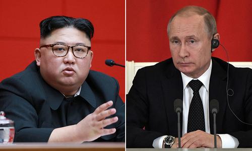 Tổng thống Nga Vladimir Putin (phải) và lãnh đạo Triều Tiên Kim Jong-un. Ảnh: Reuters/KCNA.