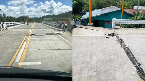 Các con đường ở San Julian, phía đông đảo Samar của Philippines bị hư hại sau động đất hôm nay. Ảnh: Reuters.