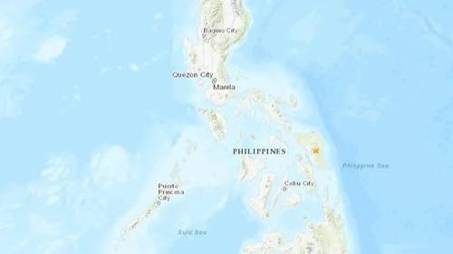 Vị trí xảy ra động đất ở Philippines hôm nay. Đồ họa: USGS.