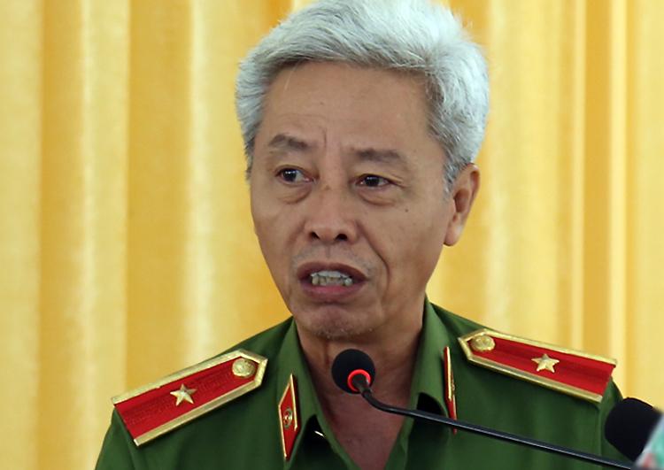 Thiếu tướng Phan Anh Minh tại hội nghị hôm nay. Ảnh: Trung Sơn.