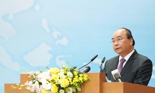 Thủ tướng Nguyễn Xuân Phúc trong hội nghị sáng nay. Ảnh: Chinhphu.vn.