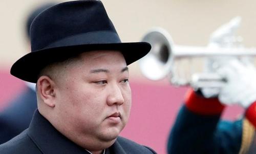 Kim Jong-un tại ga ởVladivostok ngày 24/4. Ảnh: Reuters.