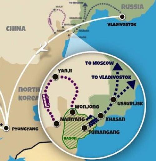Tuyến đường sắt (màu xanh) dùng để đưa Kim Jong-un đến Vladivostok. Đồ họa: Korea Konsult.