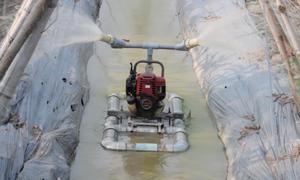 Máy tưới rau tự động bằng ống nước của nông dân miền Tây