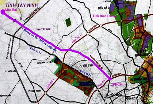 Sơ đồ hướng tuyến cao tốc TP HCM - Mộc Bài. Ảnh: Tổng cục đường bộ VN