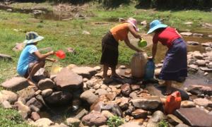 Dân đào hố lấy nước bên suối vì 6 tháng không mưa