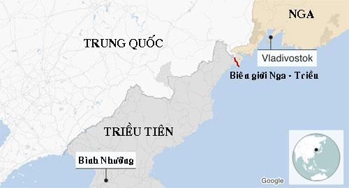 Nga có chung một đoạn biên giới trên bộ với Triều Tiên. Đồ họa: Google.