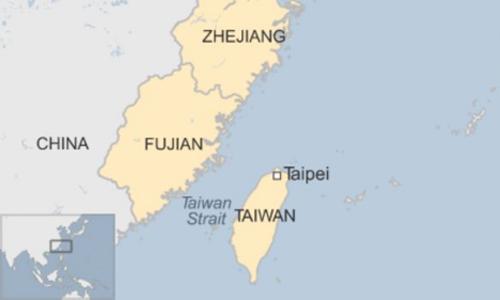 Khu vực eo biển Đài Loan. Đồ họa: BBC.
