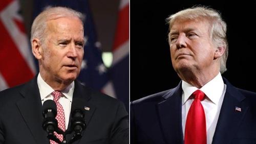 Tổng thống Mỹ Donald Trump (phải) và cựu phó tổng thống Joe Biden. Ảnh: AFP.