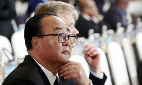 Bộ trưởng kinh tế Triều Tiên Kim Yong-jae tại diễn đànSáng kiến Vành đai và Con đường, Bắc Kinh, Trung Quốc. Ảnh: Yonhap.
