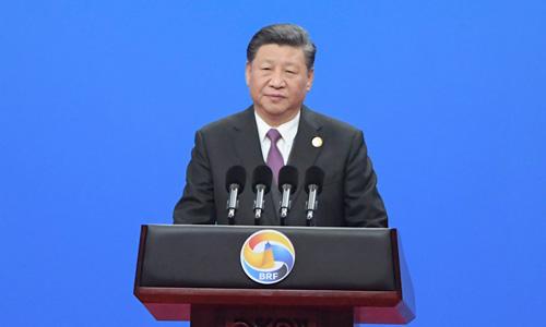 Ông Tập Cận Bình phát biểu tại buổi khai mạc hội nghị thượng đỉnh Vành đai và Con đường ở Bắc Kinh hôm nay. Ảnh: AFP.