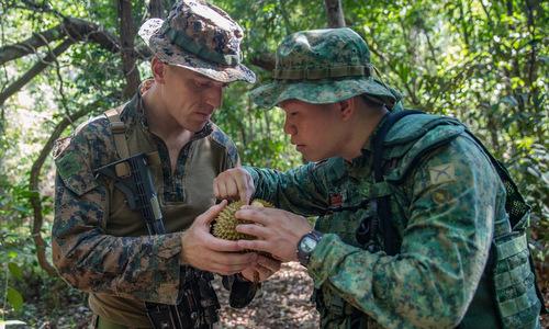 Lính Mỹ chuẩn bị nếm sầu riêng trong diễn tập Valiant Mark 2019. Ảnh: USMC.