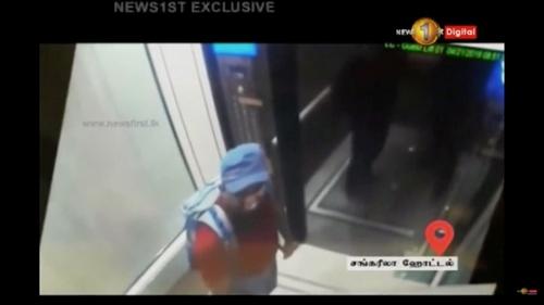 Zaharan Hashim ở trong thang máy khách sạn Shangri - La trước khi đánh bom ngày 21/4. Ảnh: Reuters.