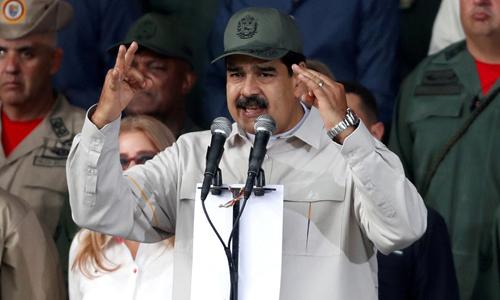 Tổng thống Venezuela Nicolas Maduro phát biểu trong một lễ kỷ niệm tại thủ đô Caracas hôm 13/4. Ảnh: Reuters.