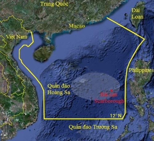 Khu vực Trung Quốc đơn phương cấm đánh bắt cá trên Biển Đông. Đồ họa: Google.