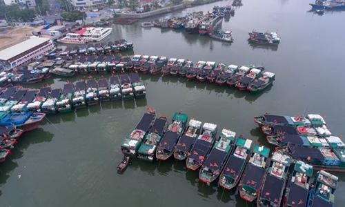 Tàu cá Trung Quốc đỗ tại bến cảng Hải Khẩu. Ảnh: Sohu.